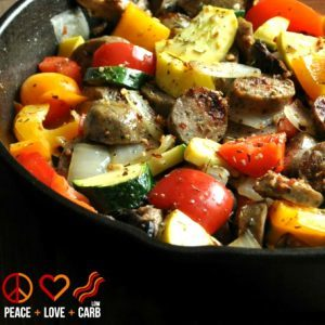PEACE LOVE AND LOW CARB Chicken Sausage and Vegetable Skillet