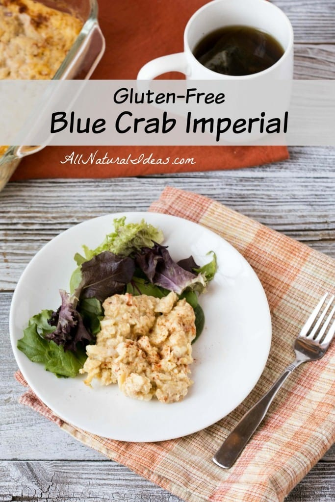 A delicious blue crab imperial that's gluten free. It's an excellend blend of crab meat, mayonnaise, mustard, and seasoning for any seafood lover.