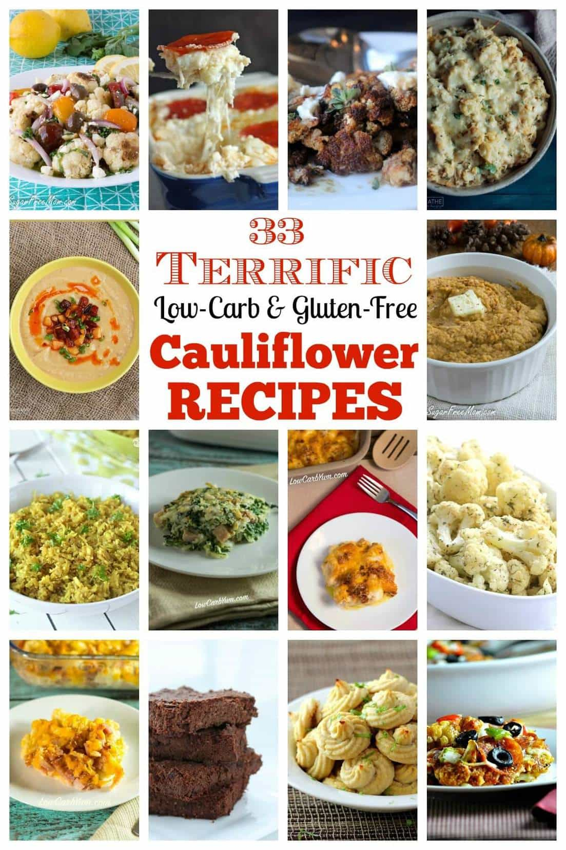 Cauliflower health benefits are plentiful. Here's a few reasons why you should be eating cauliflower along with 33 terrific low carb recipes.