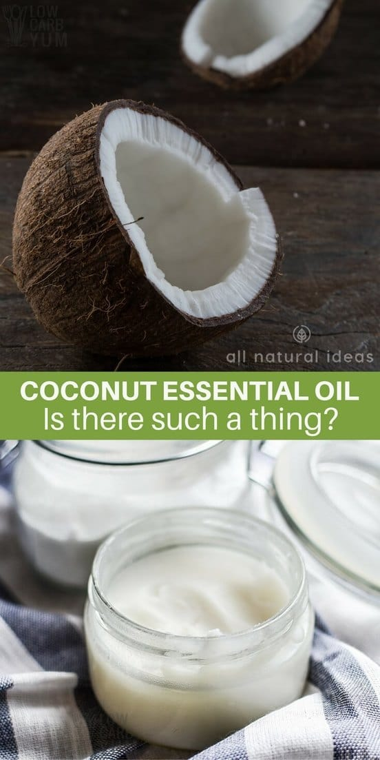 Fractionated coconut oil is used primarily as a carrier oil for other therapeutic essential oils. Most of the time, coconut essential oil is just fragrance.   allnaturalideas.com
