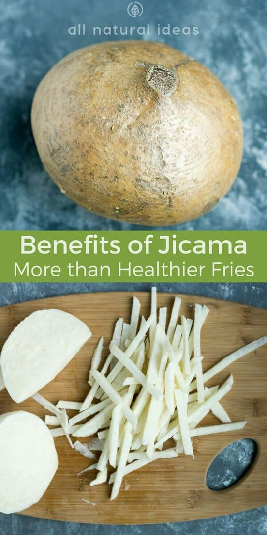 Jicama Benefits are great for diabetics and others who need to manage weight and blood sugar. #Jicama is crunchy, #lowcarb, high fiber and great for health. | allnaturalideas.com
