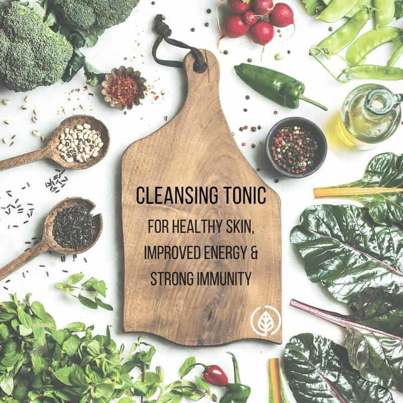 Cleansing tonic recipe for healthy skin, improved detox organ functionality, more energy, and a healthier immune system.