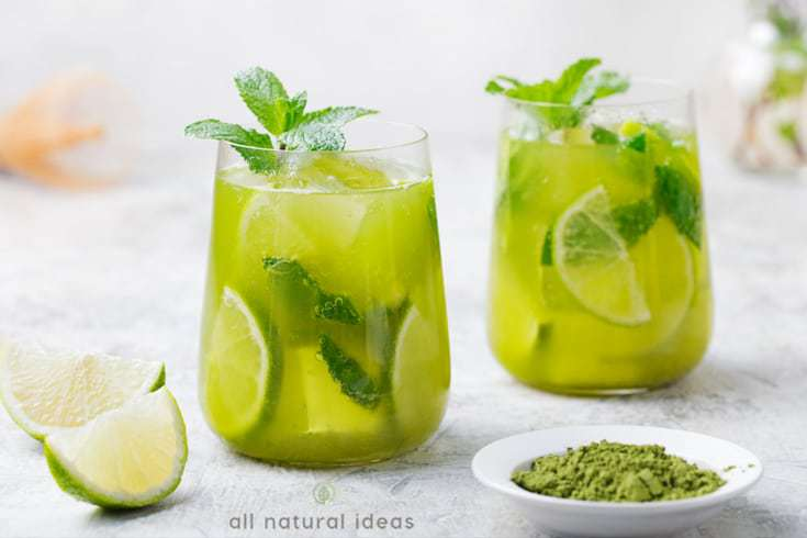 Glasses of cold matcha tea drinks