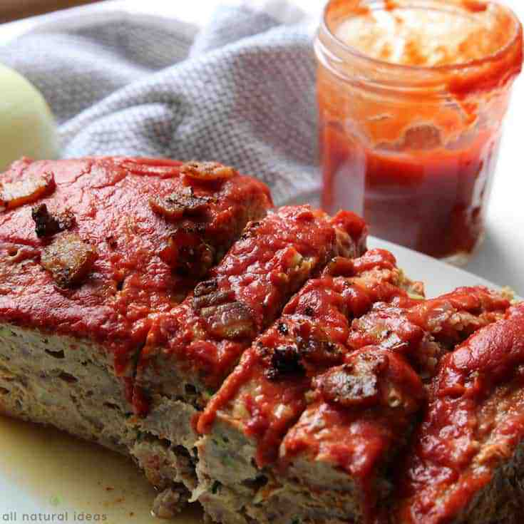 Sliced easy paleo meatloaf with bacon