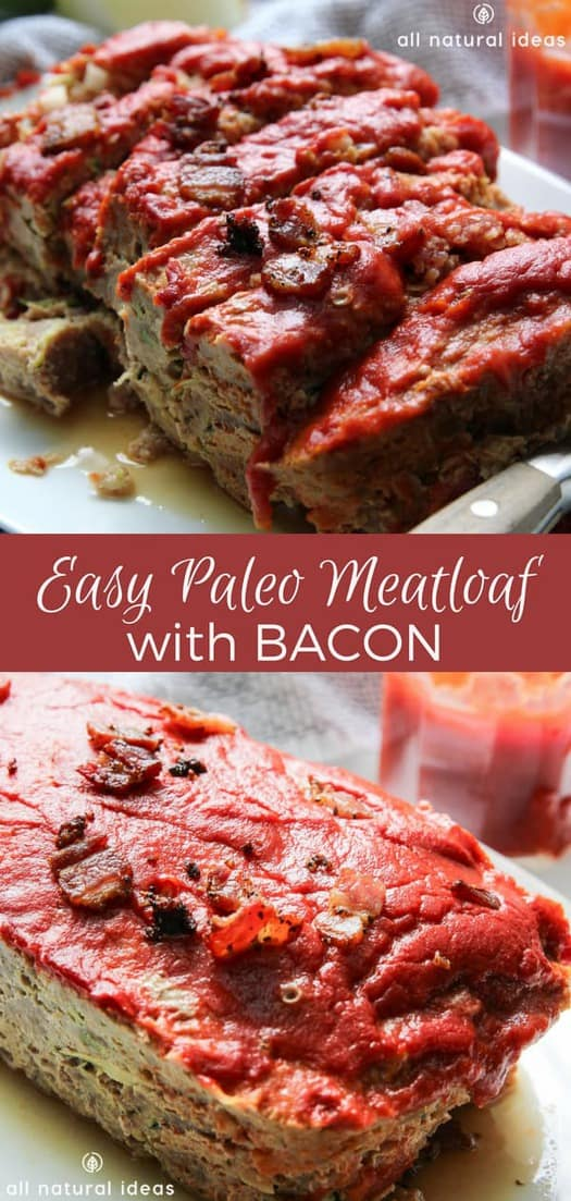 If you're tired of regular meatloaf, then this Easy Paleo Meatloaf with Bacon recipe is what you need to get your family to have a newfound appreciation for it. #paleo #meatloaf #paleomeatloaf #lowcarb #ketorecipes #bacon #easyrecipe | allnaturalideas.com