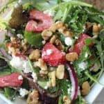 An easy spinach strawberry walnut salad