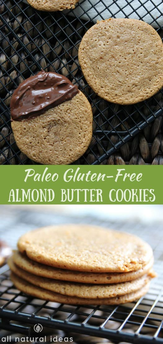 Chewy gluten free paleo almond butter cookies made with only 5 ingredients. They taste even better sprinkled with sea salt or dipped in chocolate. #glutenfree #paleo #almondbuttercookies #paleocookies #glutenfreecookies | allnaturalideas.com