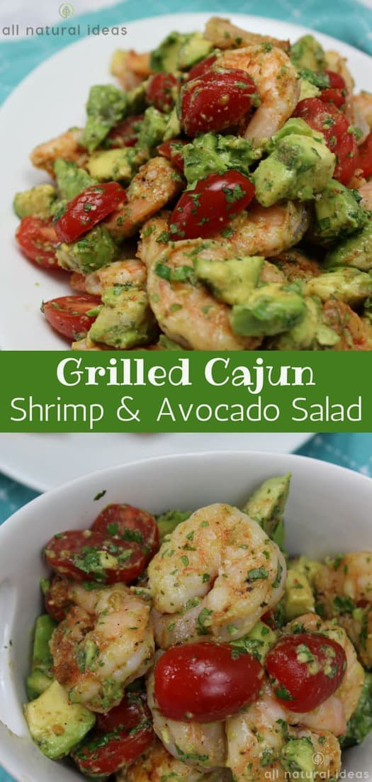 Have a healthy and flavorful family meal with this Grilled Cajun Shrimp and Avocado Salad recipe! It's absolutely no fuss and super easy to make! #glutenfree #paleo #lowcarb #ketorecipes #shrimpsalad #avocadosalad #salad | allnaturalideas.com