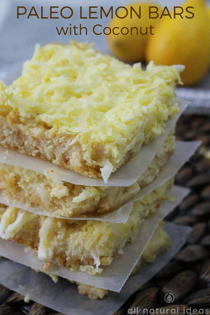 Healthy paleo lemon bars with coconut recipe