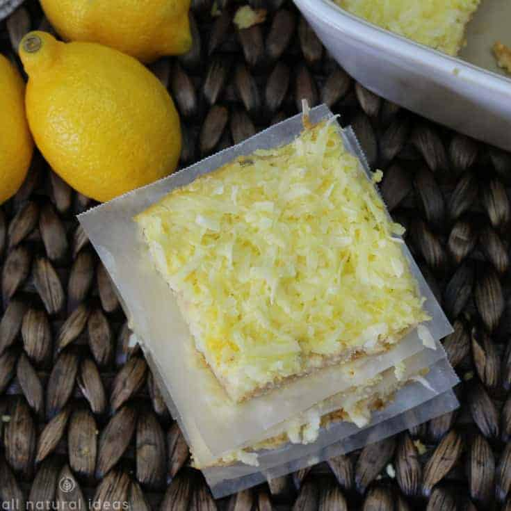 Overhead look at the healthy paleo lemon bars with coconut