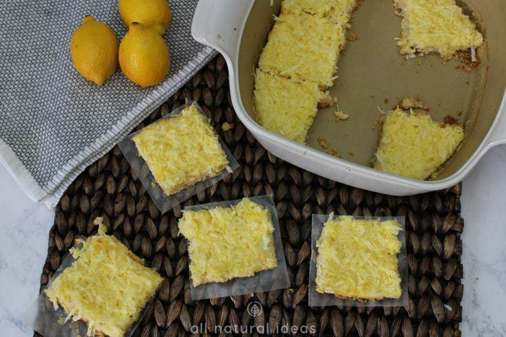 Sliced healthy paleo lemon bars with coconut