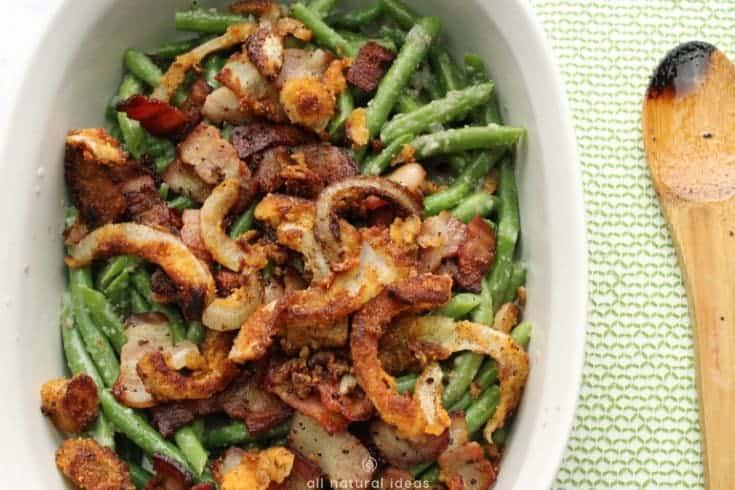 Healthy paleo green bean casserole recipe #lowcarb #paleo #dairyfree #keto #greenbeancasserole | allnaturalideas.com