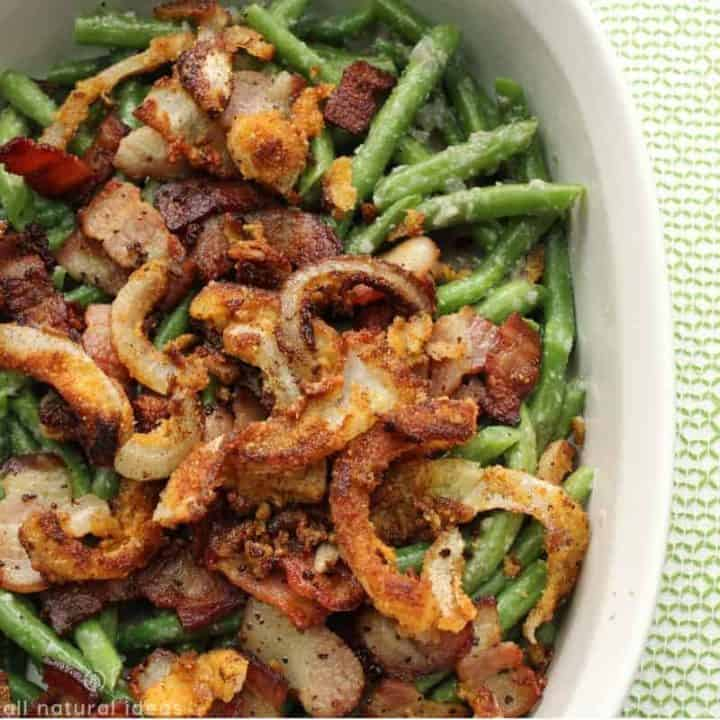 Healthy Paleo Green Bean Casserole with Bacon