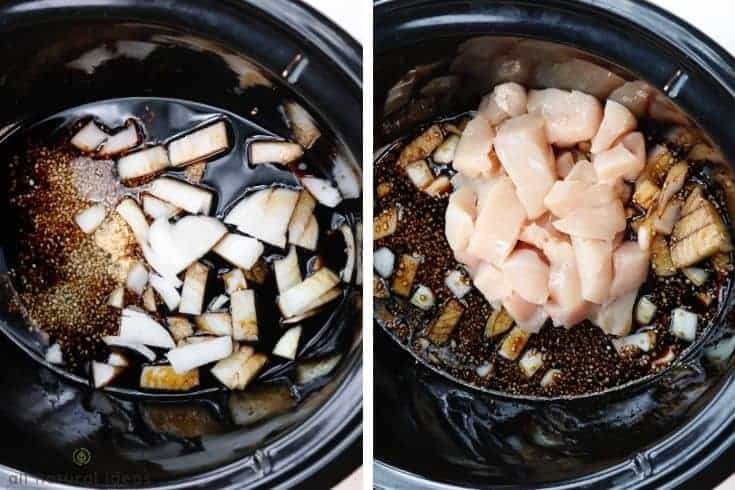 adobo ingredients in the crock pot