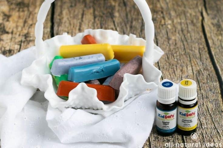 bathtub crayons in basket